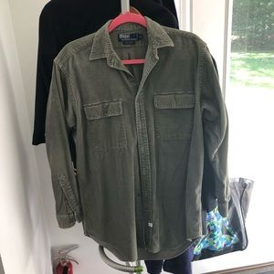 Vintage polo men's corduroy  in olive